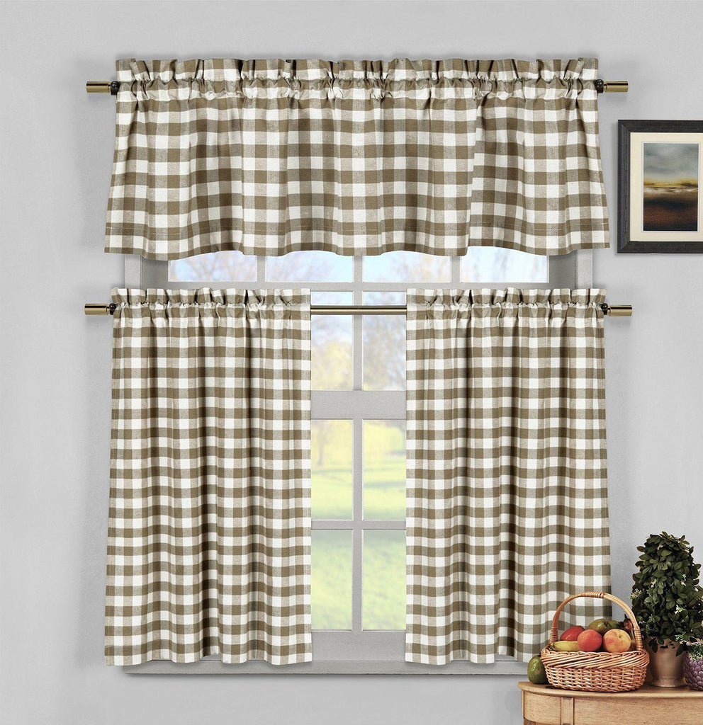 Gingham Checkered Cotton Curtains with 1 Valance and 2 Tier Panels - 3 Piece Set-Taupe-Daily Steals