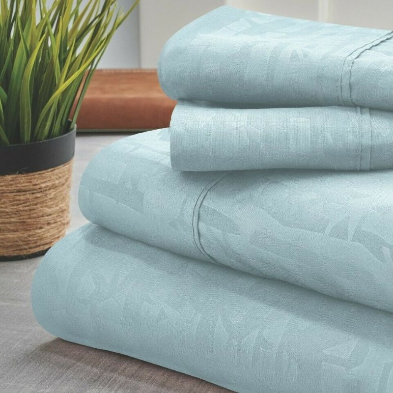 Bamboo 1800 Count Embossed Design 4-Piece Sheet Set-Aqua-Twin-Daily Steals