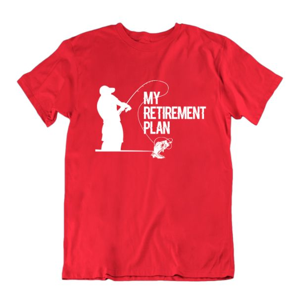 "Fisherman's ""My Retirement Plan"" T-shirt-Red-Small-Daily Steals"