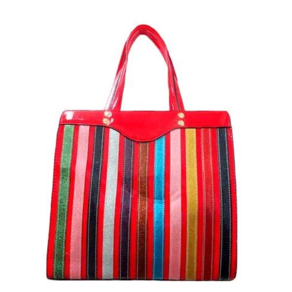 Colorful Stripe Satchel Handbag-Red-Daily Steals