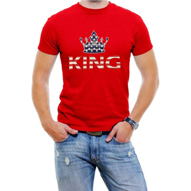 "USA Stars and Stripes ""King"" Men's T-Shirt-Red-4XL-Daily Steals"