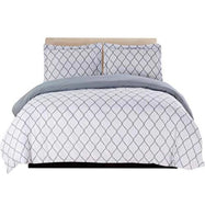 3 Piece Ultra Soft Egyptian Quality Duvet Cover Set-White/Grey-Full/Queen-Daily Steals