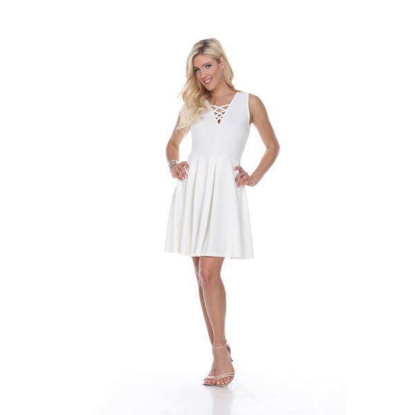 Shay' Fit & Flare Dress-White-S-Daily Steals