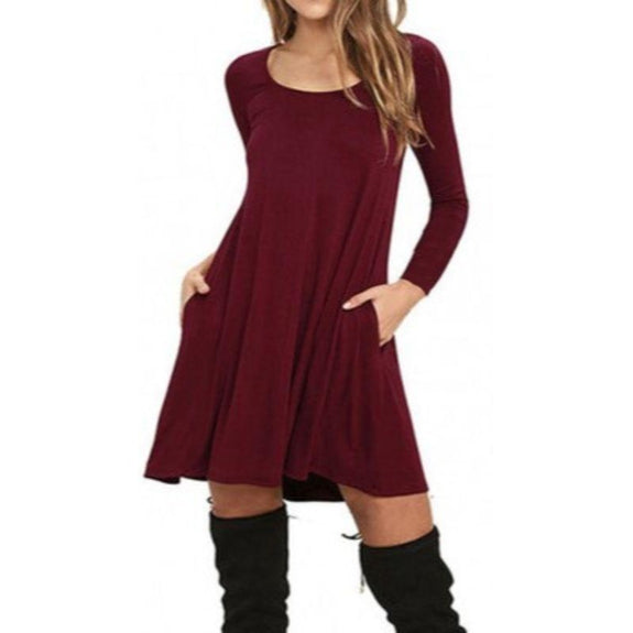 Stylish Full Sleeve Dress with Pockets - 4 Colors-Wine Red-Small-Daily Steals