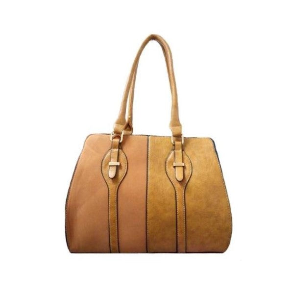 Two Tone Satchel Leather Handbag-Yellow-Daily Steals