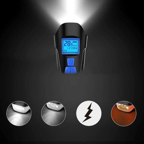4-in-1 Rechargeable Bicycle LED Light With Speedometer, Bell & Tail Light-