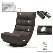 4-Position Adjustable 360 Degree Swivel Folding Floor Sofa Chair-Brown-