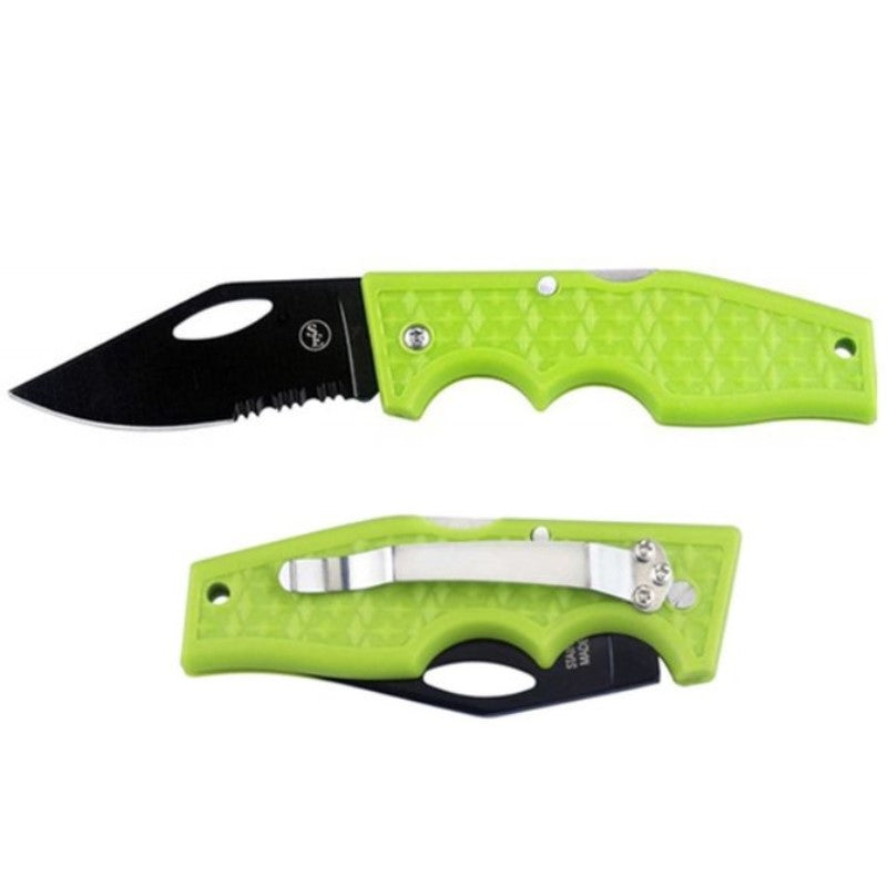 Lockback Pocket Knife with Metal Clip and Stainless Steel Blade-Green-Daily Steals