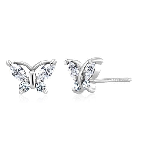 Sterling Silver Cubic Zirconia Screwback Butterfly Earrings - 2 Colors-White-Daily Steals
