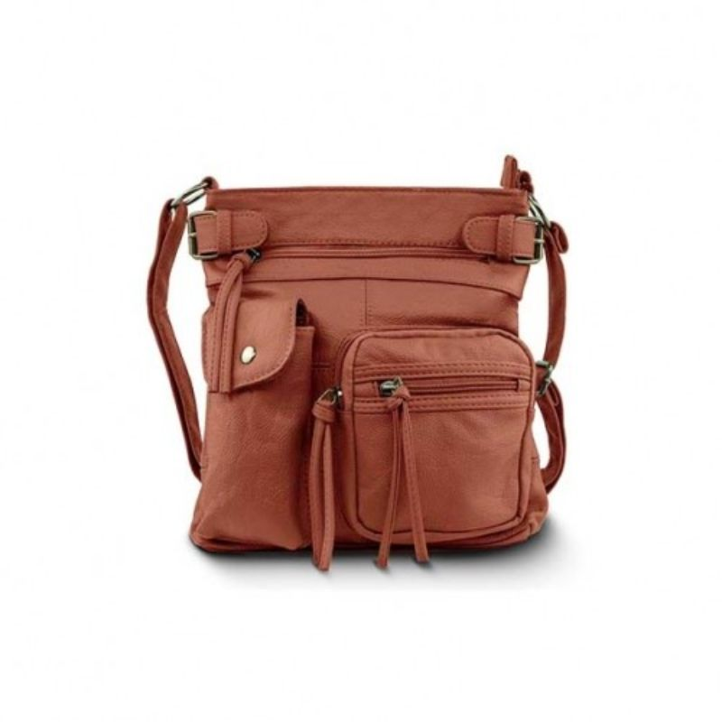 Super Soft Genuine Leather Top Belt Accent Crossbody Bag - 5 Colors-Brown-Daily Steals