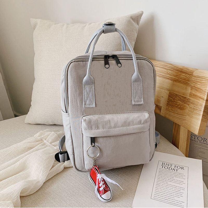 Mini Unisex Daily Backpack with FREE Shoe Keychain-Light Grey-Daily Steals