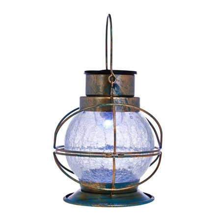 Compass Home Solar Color Changing Crackle Glass Lantern-Bronze-Daily Steals