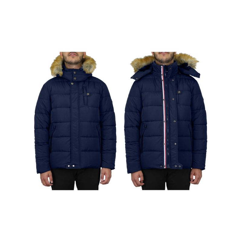 Men's Heavyweight Jacket With Detachable Hood-Navy-Small-Daily Steals