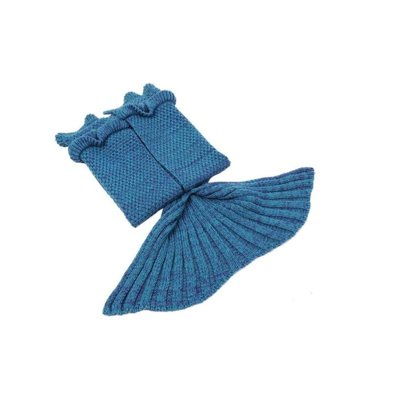 Mermaid Tail Knit Crochet Warm & Soft Blanket for Kids and Adults-Adults-Blue-Daily Steals