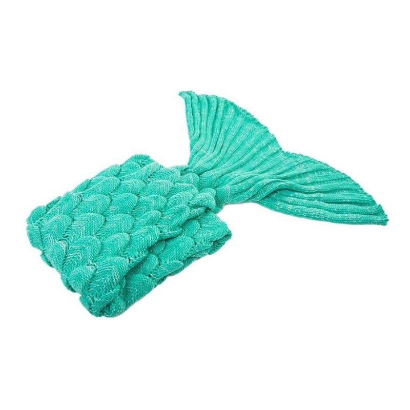 Mermaid Tail Knit Crochet Warm & Soft Blanket for Kids and Adults-Adults-Turquoise-Daily Steals