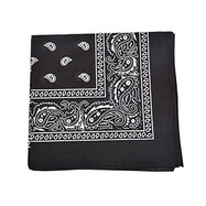 "[6 or 12 Pack] Mechaly Paisley 100% Cotton Unisex Bandanas - 22"" x 22""-Black-6 pack-Daily Steals"