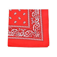"[6 or 12 Pack] Mechaly Paisley 100% Cotton Unisex Bandanas - 22"" x 22""-Red-6 pack-Daily Steals"