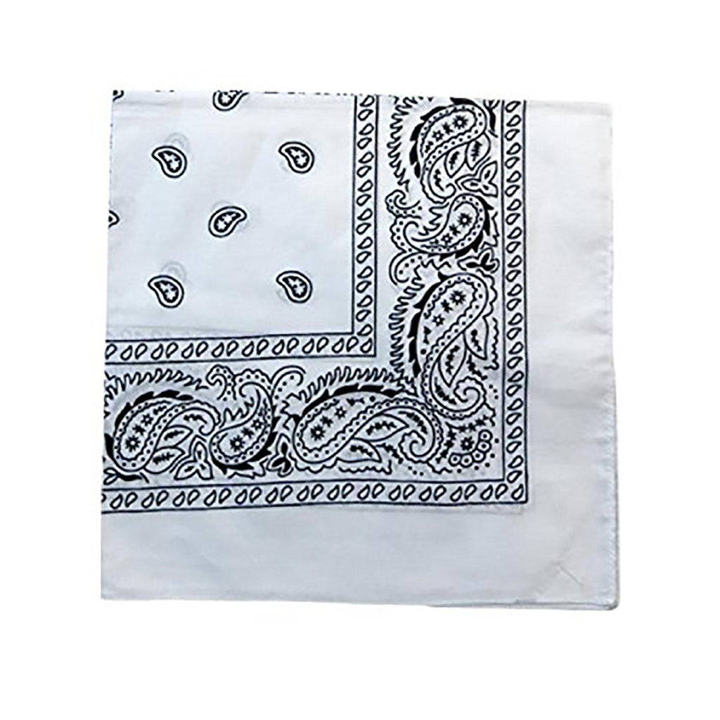 "[6 or 12 Pack] Mechaly Paisley 100% Cotton Unisex Bandanas - 22"" x 22""-White-6 pack-Daily Steals"