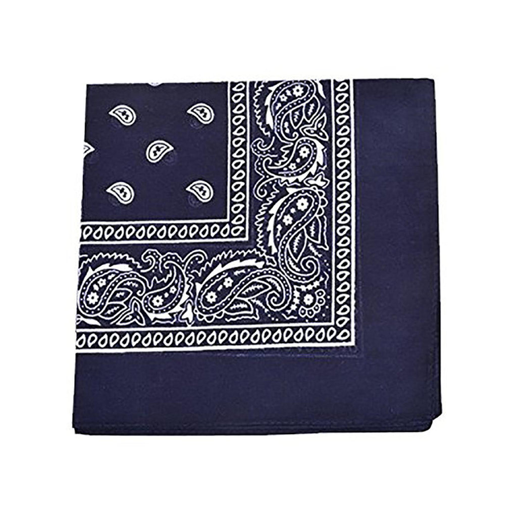 "[6 or 12 Pack] Mechaly Paisley 100% Cotton Unisex Bandanas - 22"" x 22""-Navy Blue-6 pack-Daily Steals"
