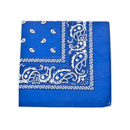 "[6 or 12 Pack] Mechaly Paisley 100% Cotton Unisex Bandanas - 22"" x 22""-Royal Blue-6 pack-Daily Steals"