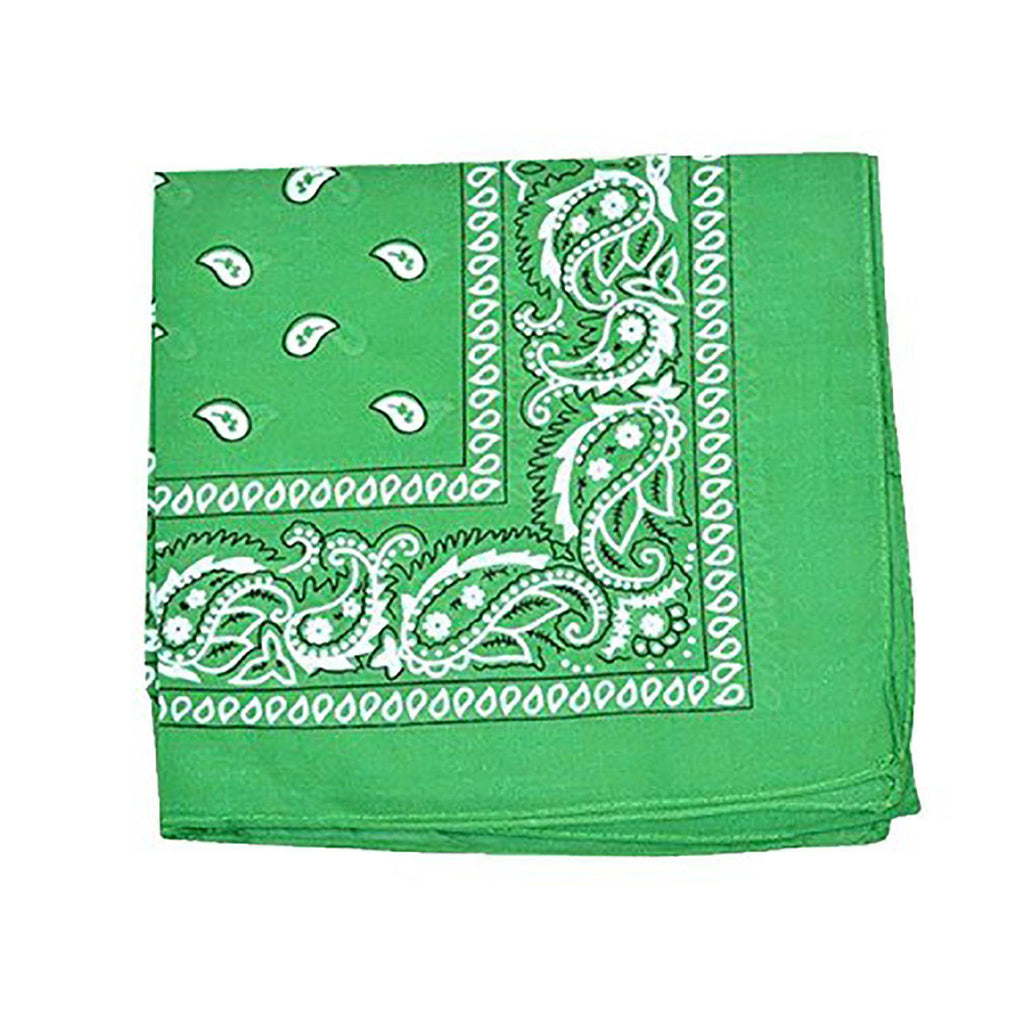 "[6 or 12 Pack] Mechaly Paisley 100% Cotton Unisex Bandanas - 22"" x 22""-Green-6 pack-Daily Steals"