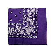"[6 or 12 Pack] Mechaly Paisley 100% Cotton Unisex Bandanas - 22"" x 22""-Purple-6 pack-Daily Steals"