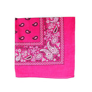 "[6 or 12 Pack] Mechaly Paisley 100% Cotton Unisex Bandanas - 22"" x 22""-Hot Pink-6 pack-Daily Steals"