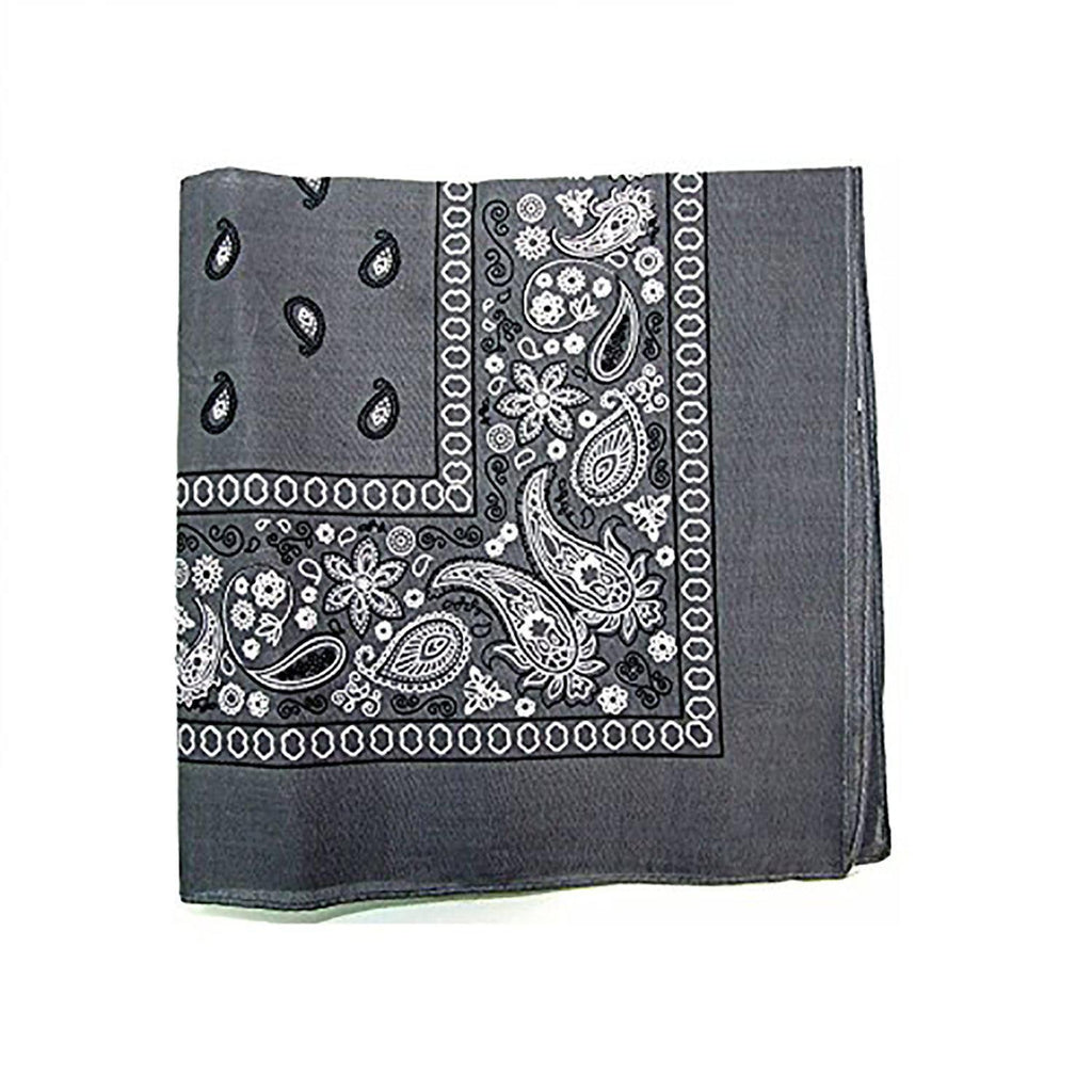 "[6 or 12 Pack] Mechaly Paisley 100% Cotton Unisex Bandanas - 22"" x 22""-Grey-6 pack-Daily Steals"