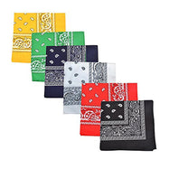 "[6 or 12 Pack] Mechaly Paisley 100% Cotton Unisex Bandanas - 22"" x 22""-Assorted Colors-6 pack-Daily Steals"