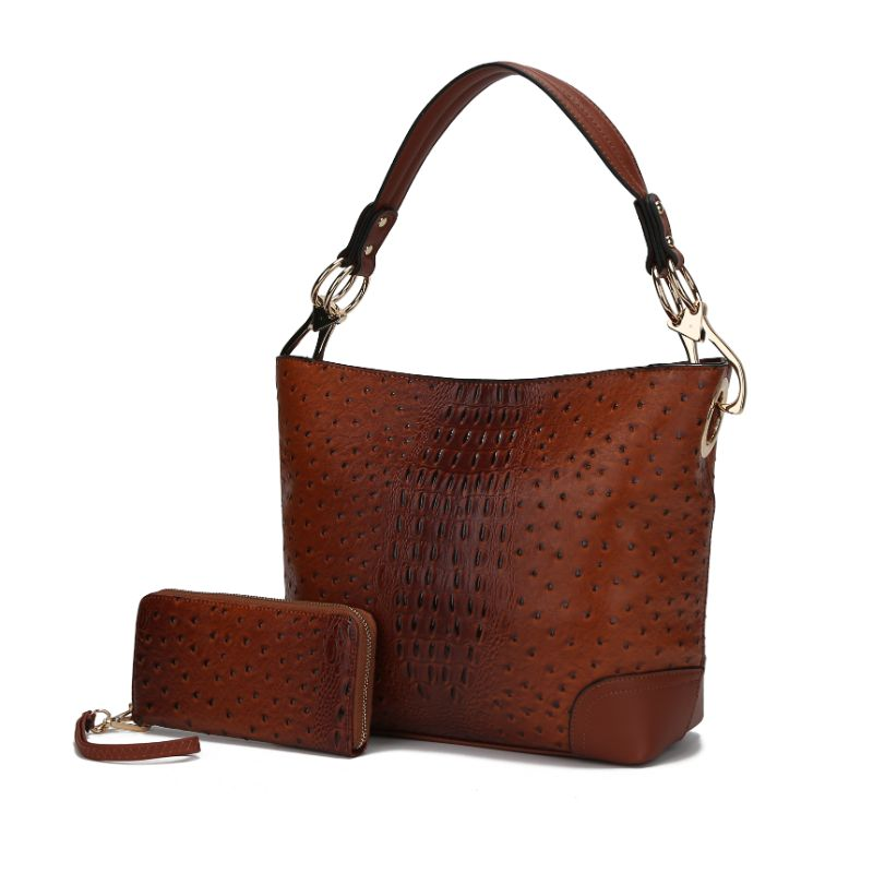 MKF Collection Wandy Hobo Sac à main et portefeuille assorti-Brown-Daily Steals