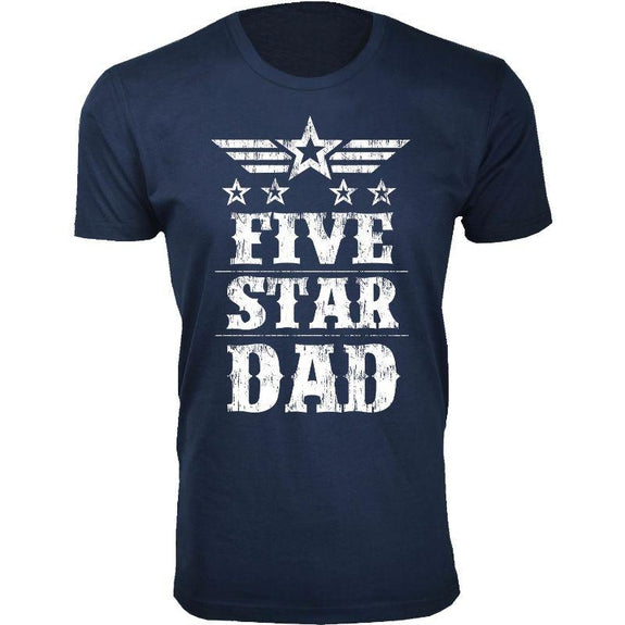 Men's Five Star Father's Day T-shirts-Dad - Navy-S-Daily Steals