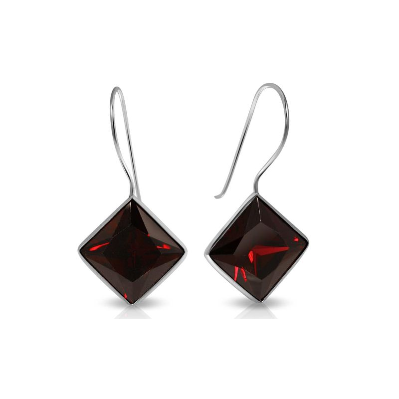 Created Garnet Gemstone Fish Hook Earrings in Sterling Silver-Daily Steals