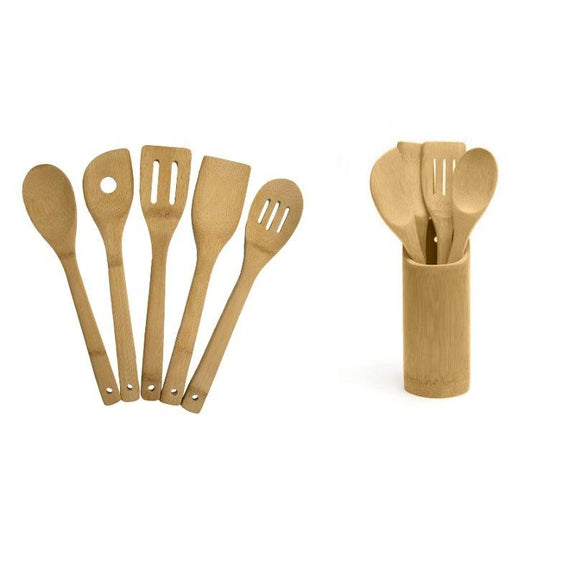 5 and 10 Piece Bamboo Kitchen Utensil Set-5 Piece Utensil Set and 5 Piece Set with Holder-Daily Steals