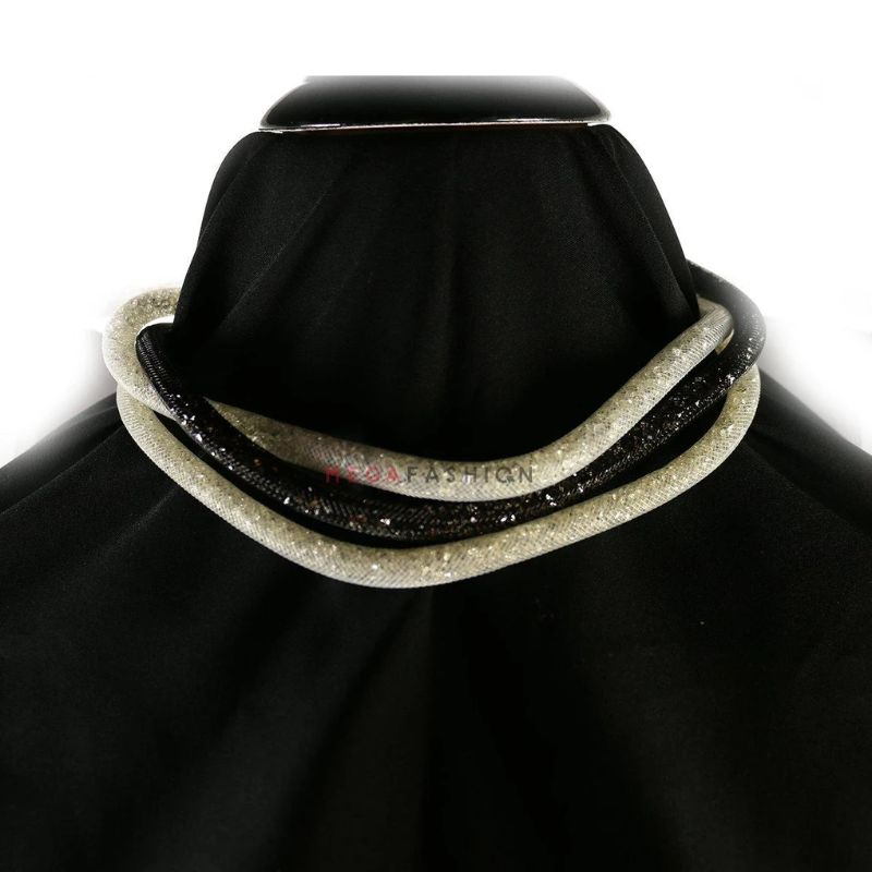 Women's Set of Three Magnetic Stardust Mesh Necklaces with Crystals in Black and White