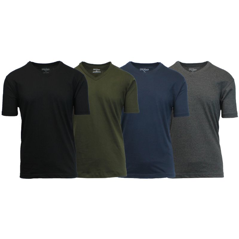 Men's V-Neck Short Sleeve Cotton Blend T-Shirts, Sizes S-5XL - 4 Pack