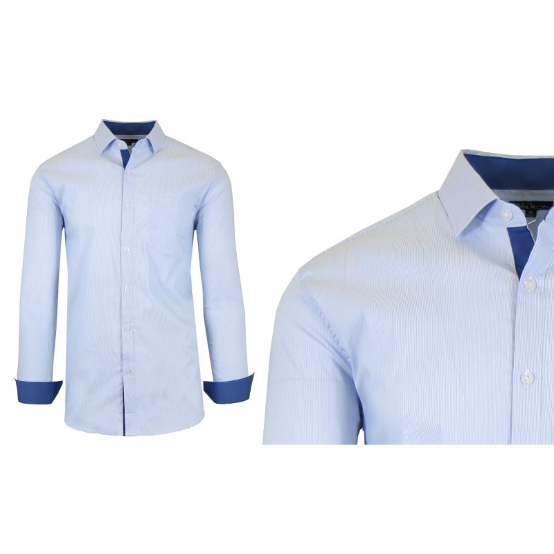 Mens Quick Dry Performance Stretch Dress Shirts-Navy/Light Blue-Small-Daily Steals