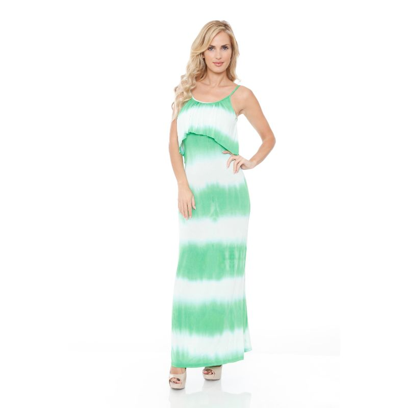 WhiteMark 'Kalea' Tie Dye Overlay Maxi Dress-Green-XL-Daily Steals