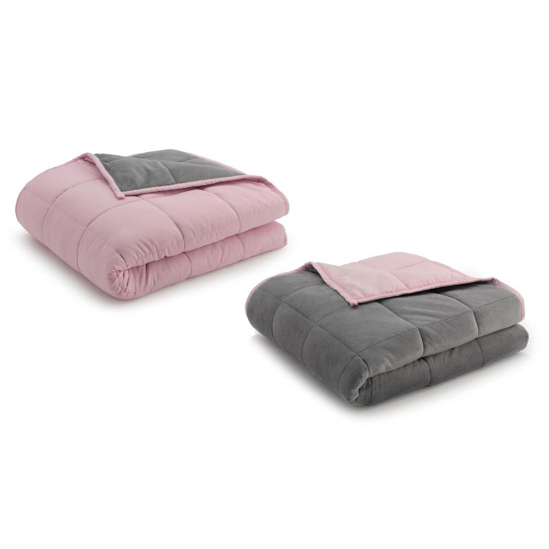 Ella Jayne Reversible Anti-Anxiety Weighted Microfiber Blanket-Grey/Pink-15 lbs-Daily Steals