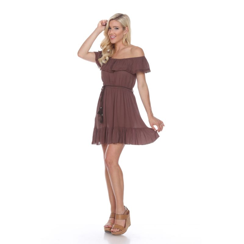 Smocked Off-The-Shoulder Dress-Brown-S-Daily Steals
