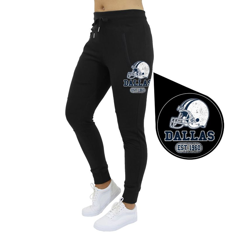 Women's Home Team Football Jogger Sweatpants-Dallas - Black-S-Daily Steals