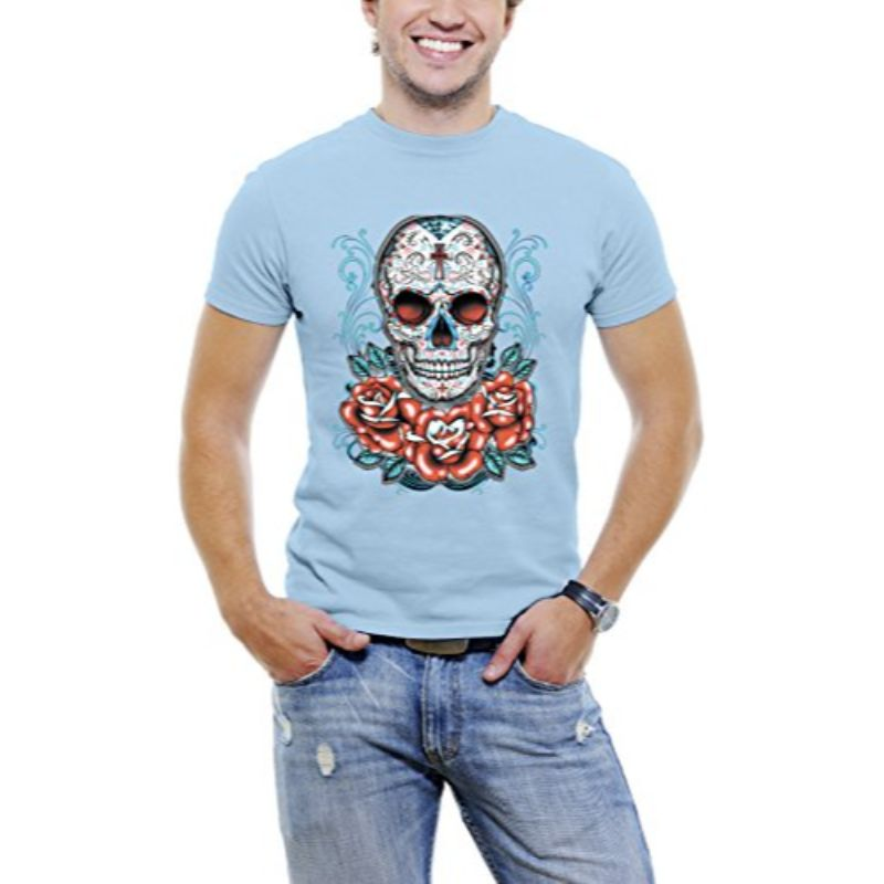 Skull Roses Tattoo - Men's T-Shirt-Sky Blue-3XL-Daily Steals