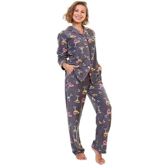 Angelina Women's Cozy Fleece Pajama Set-Cocktail Party Fancy Drinks-Large-Daily Steals