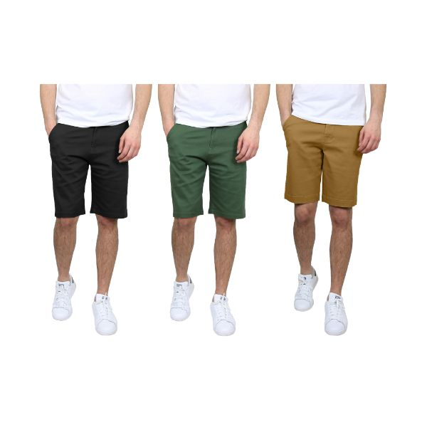 Men's 5-Pocket Flat-Front Stretch Chino Shorts - 3 Pack-Black & Olive & Timber-30-Daily Steals