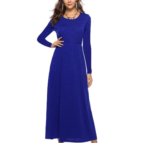 Long Sleeve Solid Maxi Dress-Light Blue-Large-Daily Steals