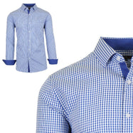 Mens Long Sleeve Slim-Fit Cotton Dress Shirts W/ Chest Pocket-Navy/White-Small-Daily Steals