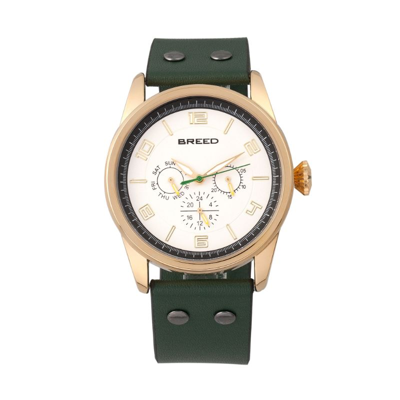 Breed Rio Leather-Band Watch w/Day/Date-Gold/Green-Daily Steals