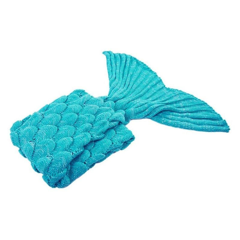Mermaid Tail Knit Crochet Warm & Soft Blanket for Kids and Adults-Adults-Sky Blue, Fish Scale-Daily Steals