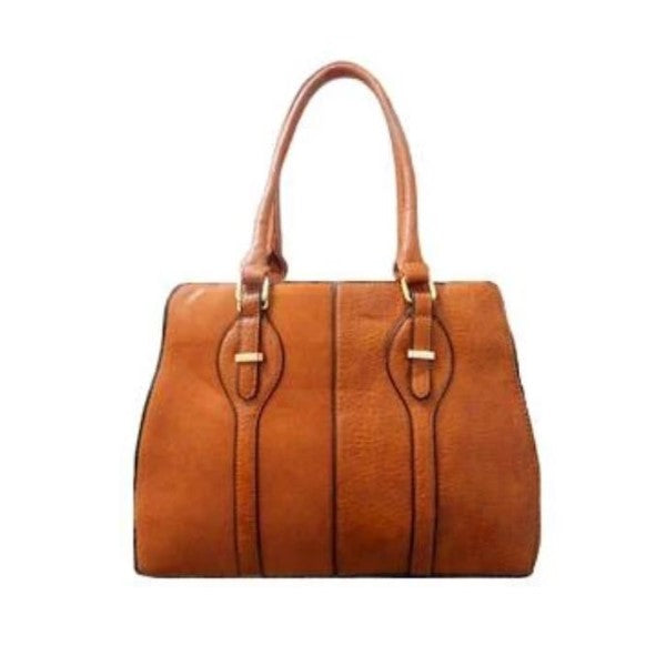 Two Tone Satchel Leather Handbag-Camel-Daily Steals