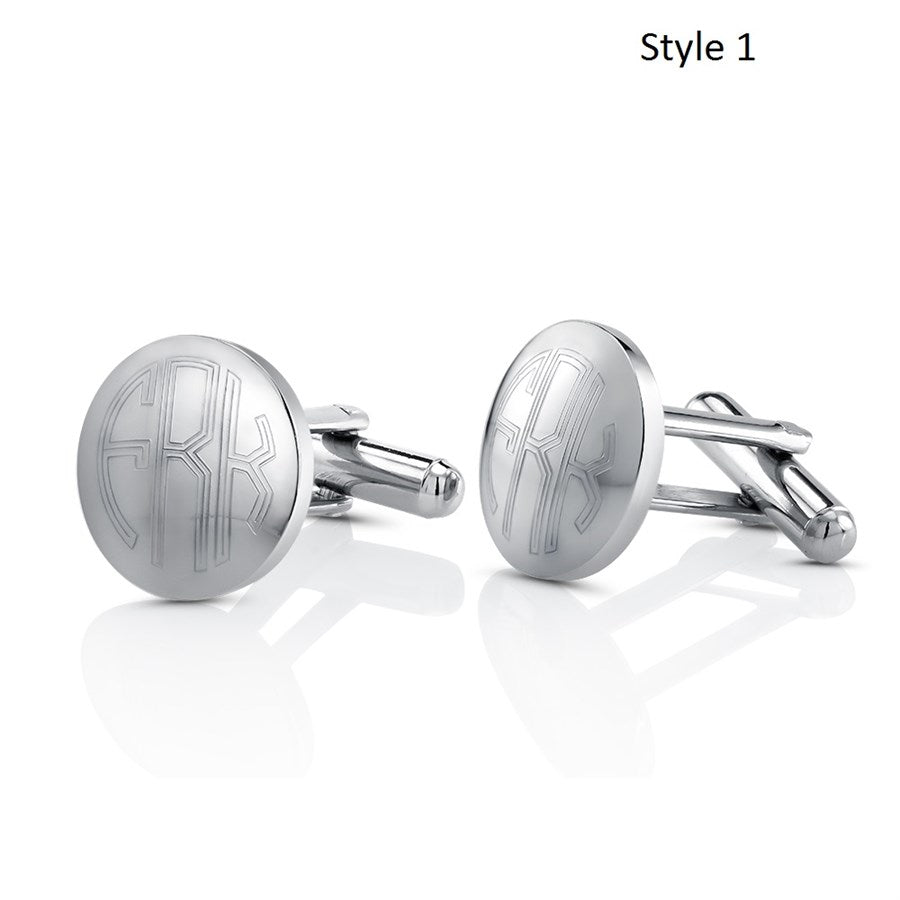 Stainless Steel Monogram Cufflinks with FREE Gift Box-Circle-Daily Steals