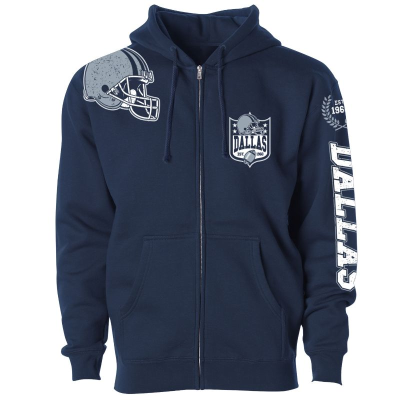Women's Football Home Team Zip Up Hoodie-S-Dallas-Daily Steals